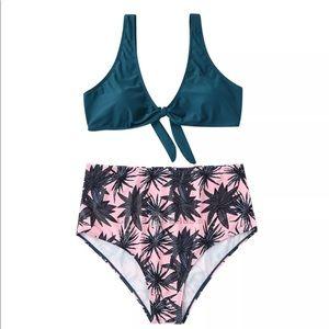 Other - Women's Bikini Palm leaf print high waisted xxl